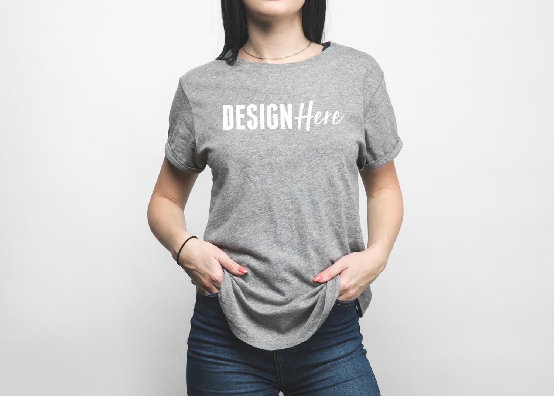 Heather Grey Tshirt Mockup