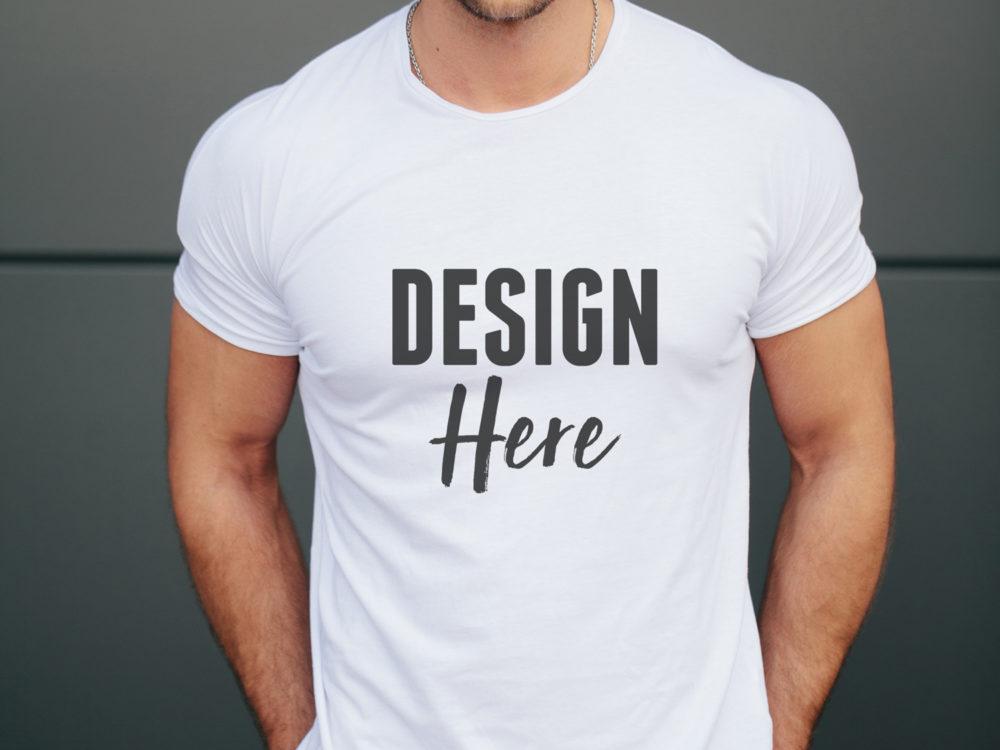 Realistic Tshirt Mockup On Male Model Psd Mockup Template