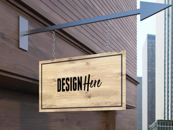 wooden hanging signboard mockup