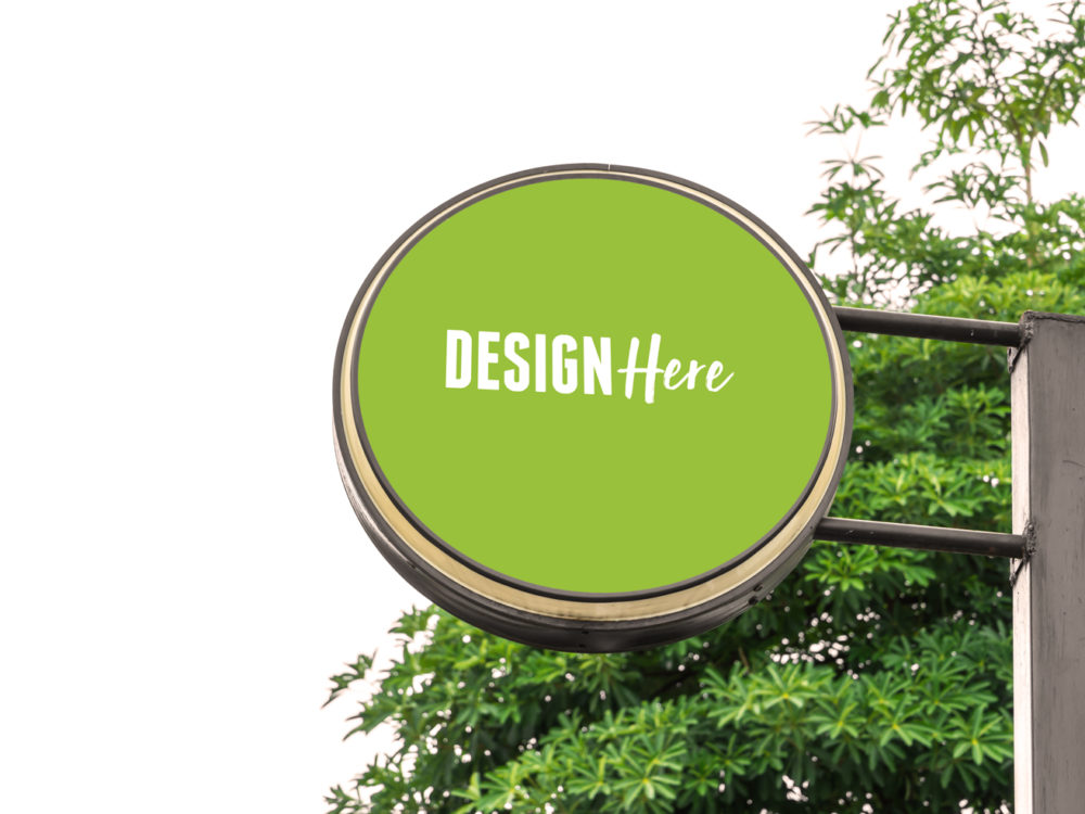 rounded metal signboard mockup