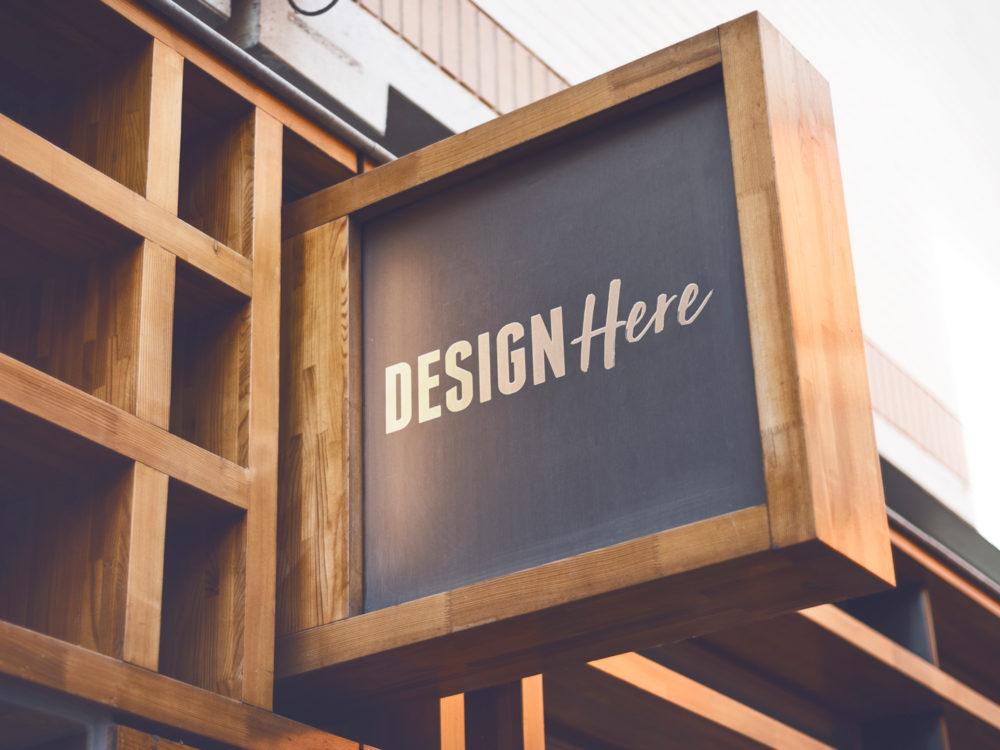 wooden signboard mockup