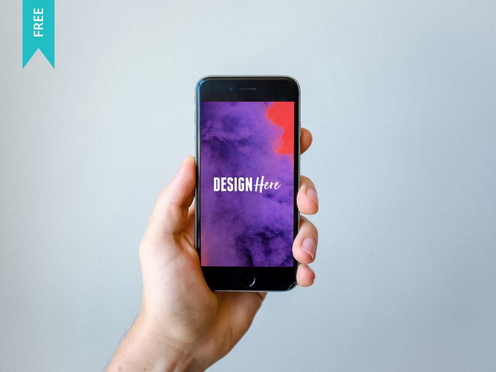 iphone in hands mockup