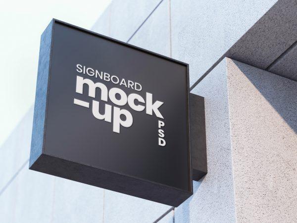 Black Signboard Mockup