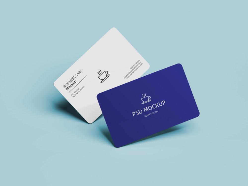 Business Card Mockup With Rounded Corners - PSD Mockup