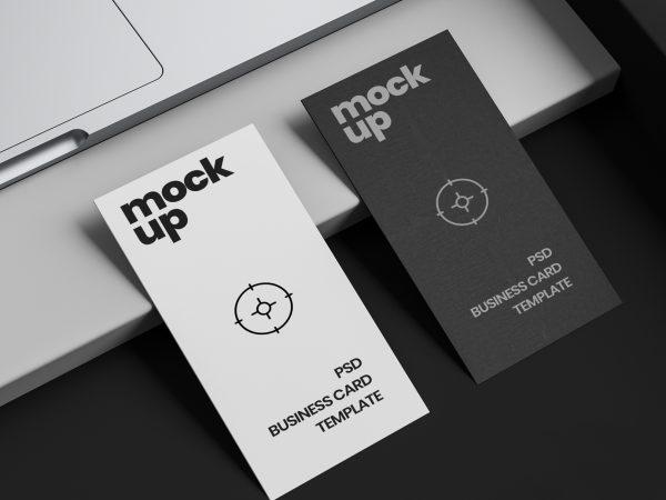 Vertical Business Card Mockup on Desk