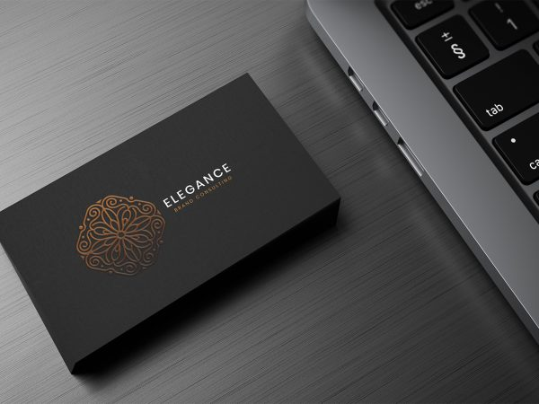 Black Business Card Mockup on Desk