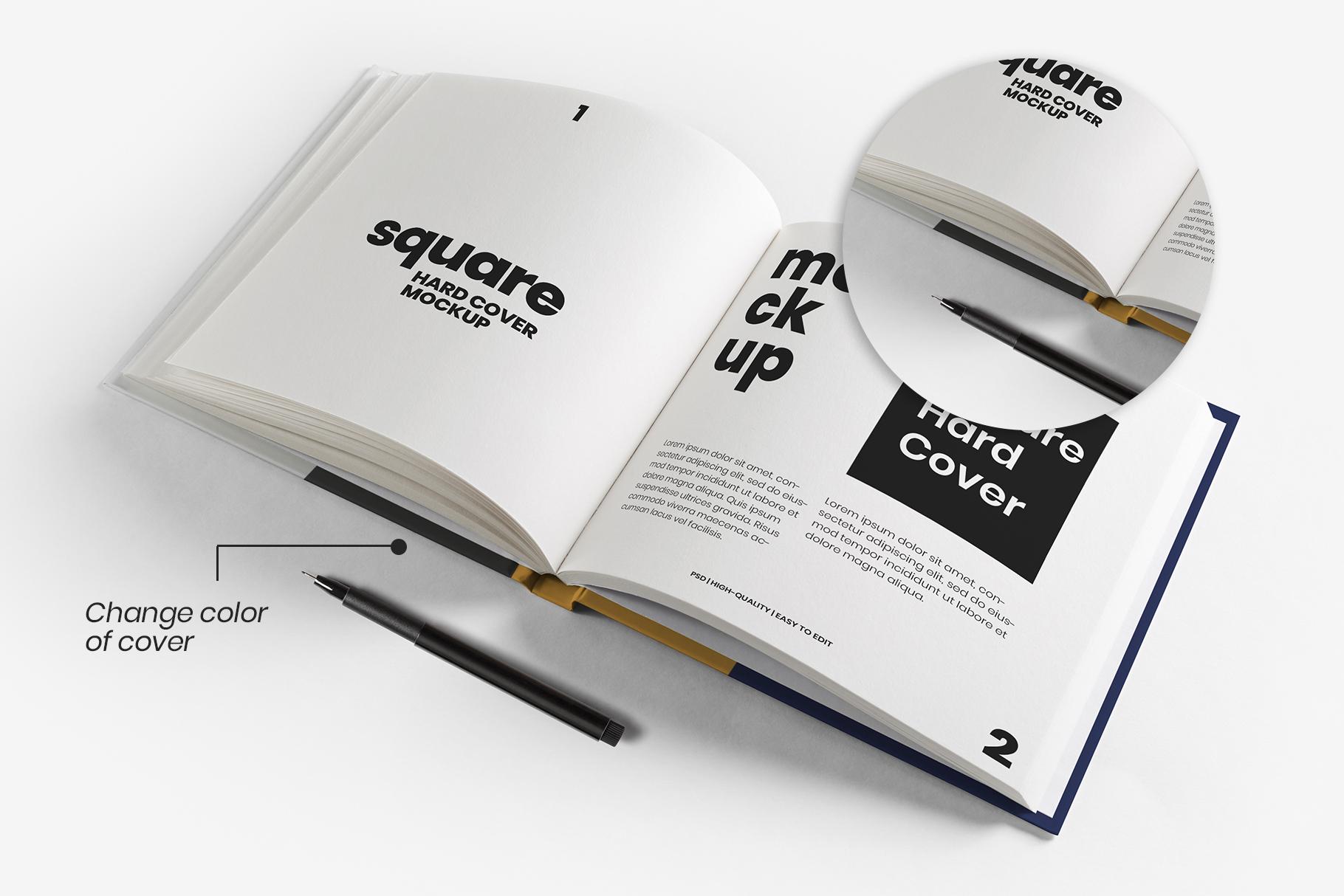 square hardcover book mockup