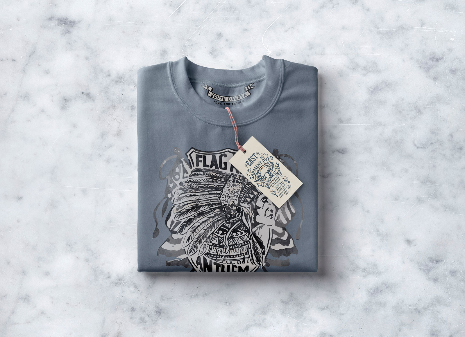 Folded T-Shirt with Tag Mockup