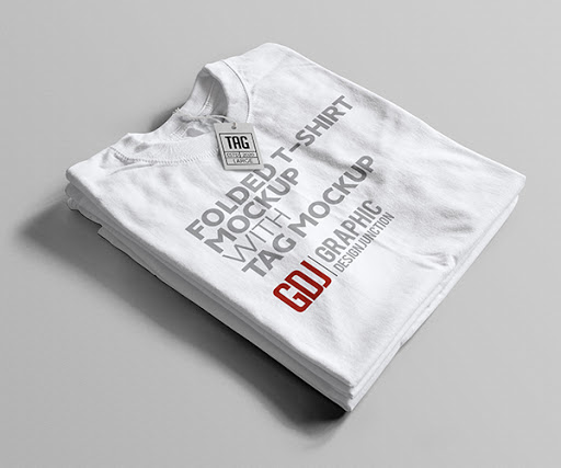 White Folded T-Shirt with Tag