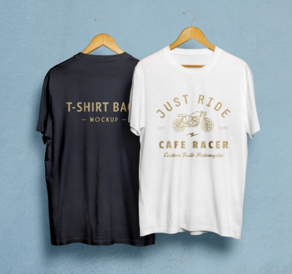 Front and Back Black and White T-Shirt Mockup