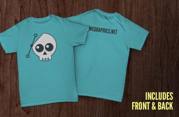 Front and Back Blue Shirt Mockup
