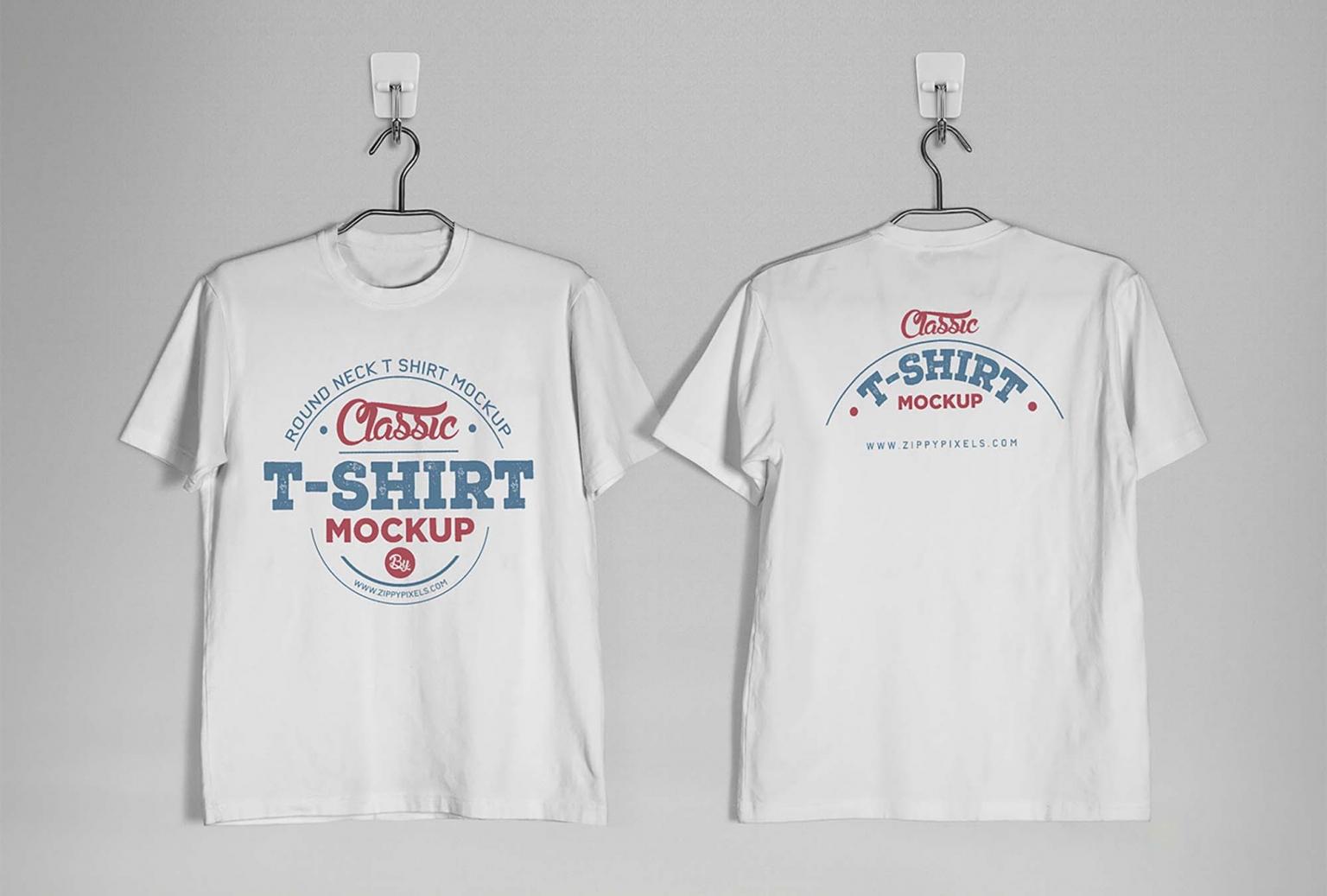 Front and Back Vintage Distressed T-Shirt Mockup