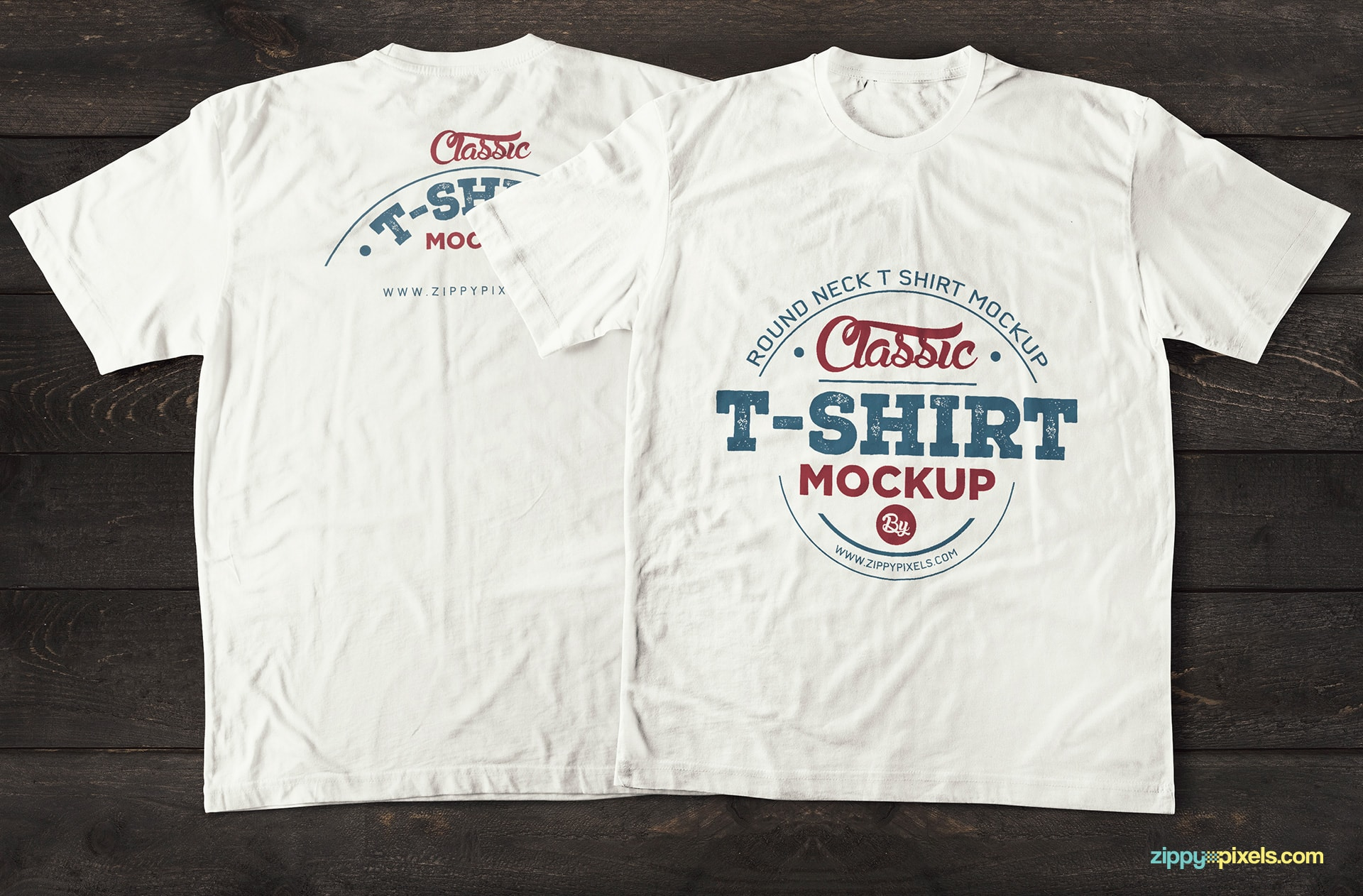 Front and BackVintage Styled T-Shirt Mockup