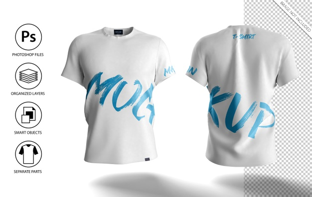 White Men T-Shirt Mockup Front and Back View