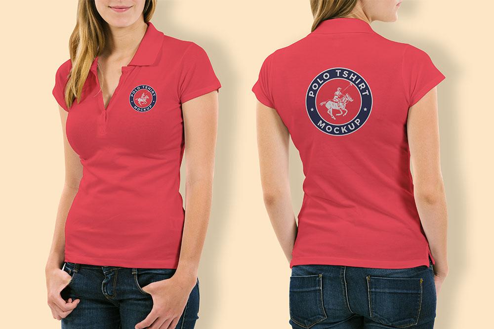Front and BackWoman Polo Shirt Mockup