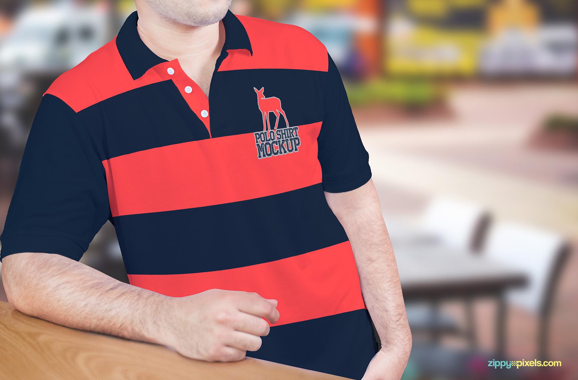 Striped Polo Shirt Mockup