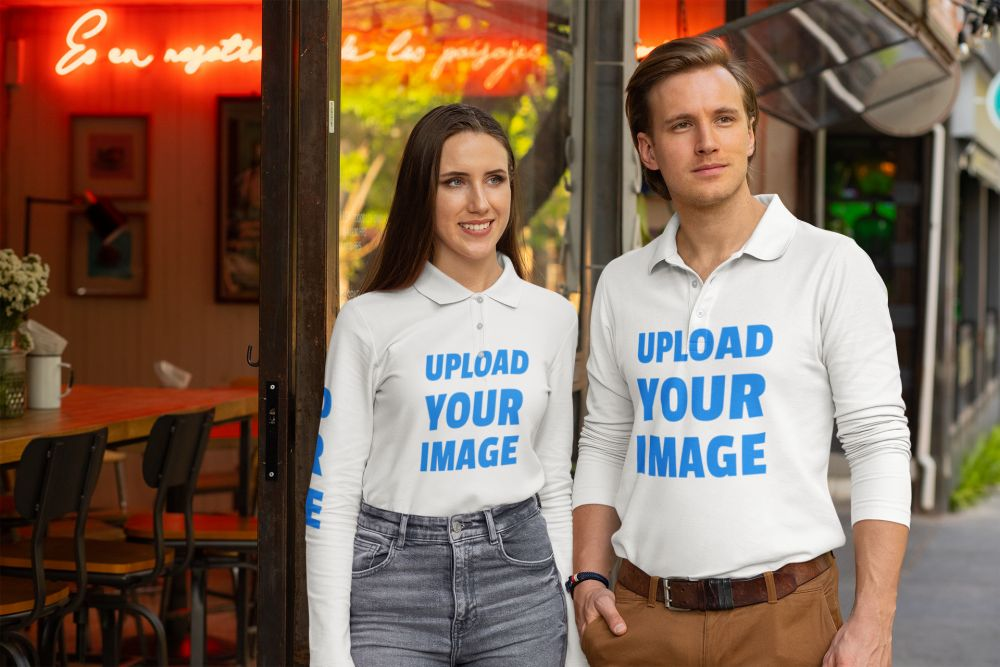 Couple Long Sleeve Polo Shirt Mockup