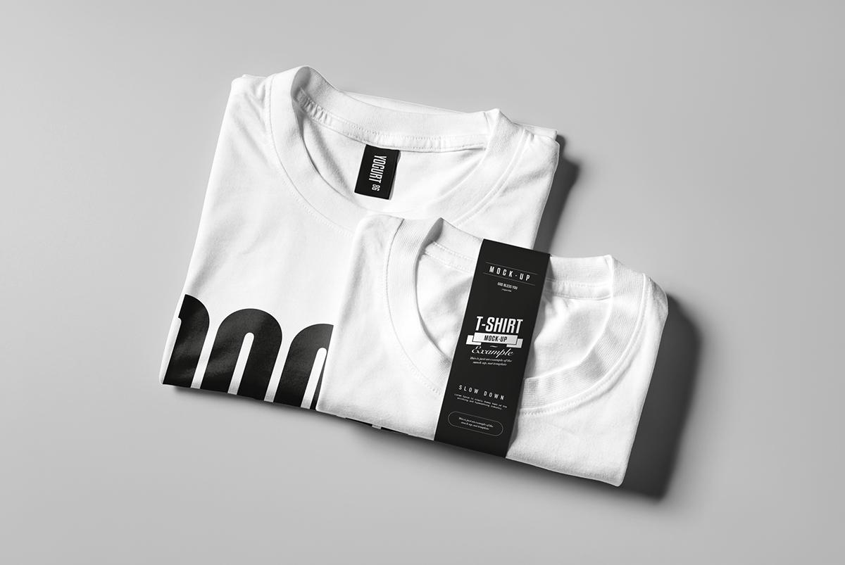 Realistic Folded White T-Shirt Mockup